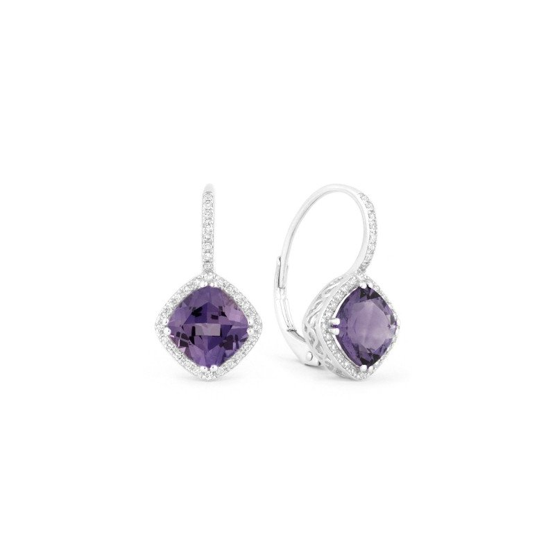 Lasker Gemstone Drop Earrings with Created Alexandrite