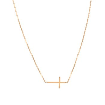 Mini East-West Cross Necklace In Rose Gold