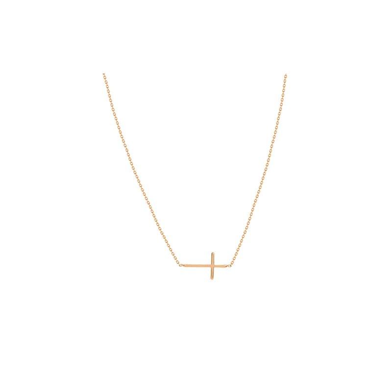 Lasker Gold Fashion Mini East-West Cross Necklace In Rose Gold