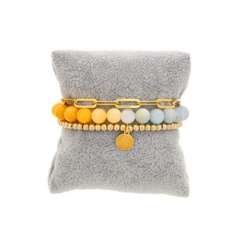 Yellow to Blue Ombre Bracelet Stack