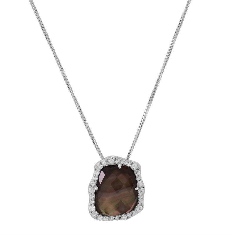 Lasker Pearl Fashion Geometric Black Pearl and White Sapphire Necklace