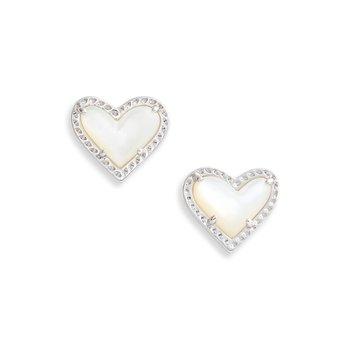 Ari Heart Stud Earrings in Ivory MOP