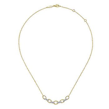 14K Yellow-White Gold Twisted Rope Oval Link Necklace with Diamond Connectors