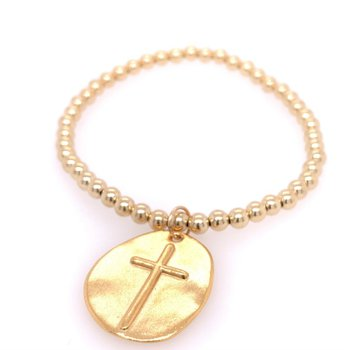 Classic Gold Filled 4mm Bead Bracelet With Inspire Charm- Extends