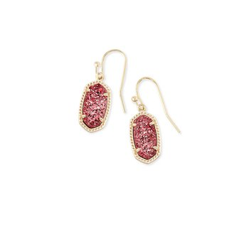 Lee Gold Earrings In Raspberry Drusy
