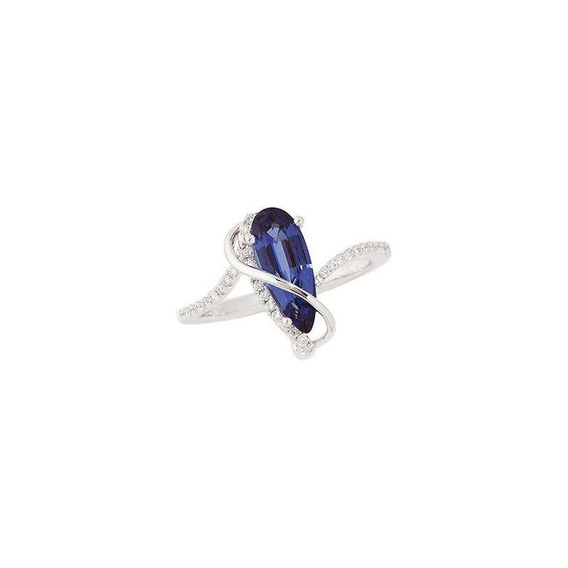 Lasker Gemstone Chatham Blue Sapphire Ring