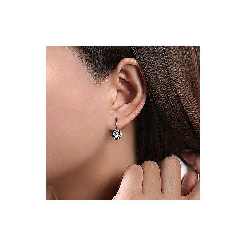 Gabriel Fashion 14K White Gold Diamond Pavé Disc Drop Earrings