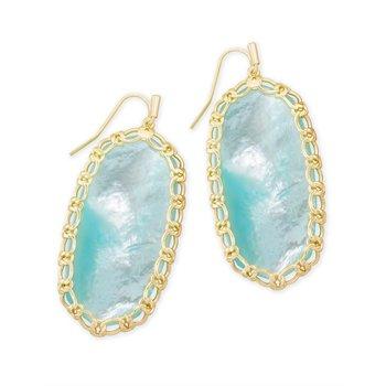 Macrame Danielle Gold Statement Earrings In Aqua Illusion
