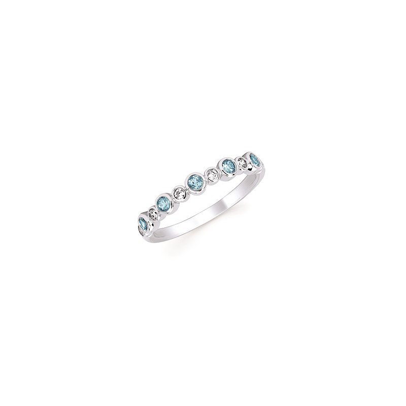 Lasker Gemstone Blue Topaz and Diamond Stackable Band