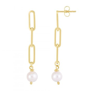 Paper Clip Earrings with Pearls