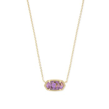 Elisa Gold Pendant Necklace In Bronze Veined Lilac Magnesite