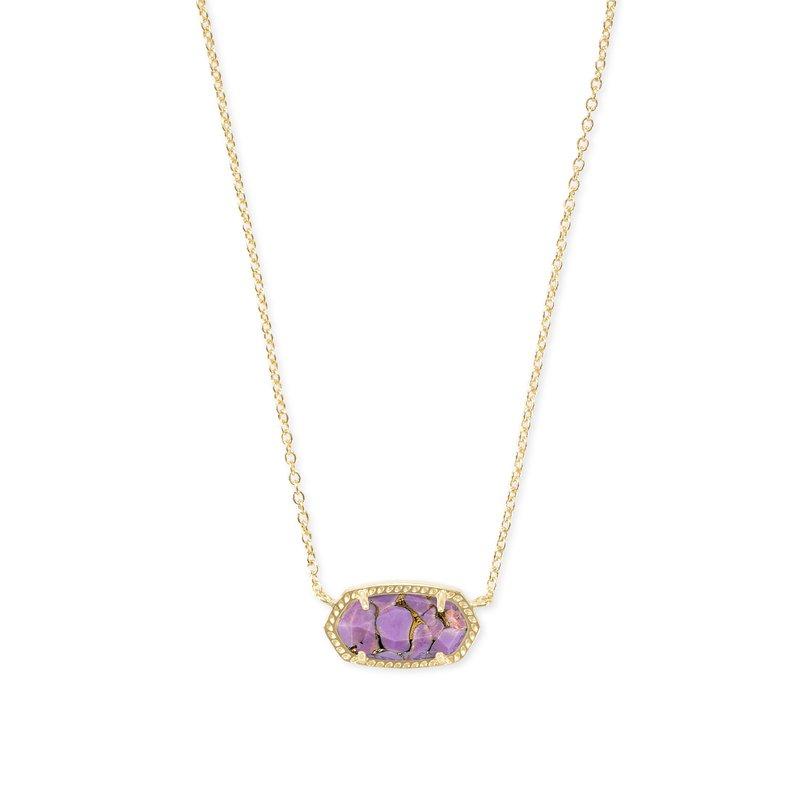 Kendra Scott Elisa Gold Pendant Necklace In Bronze Veined Lilac Magnesite