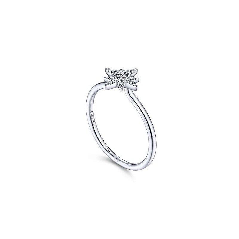 Gabriel Fashion 14K White Gold Diamond Starburst Ring