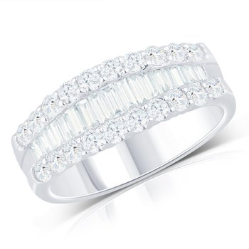 Baguette and Round Diamond Band - 1.80cttw