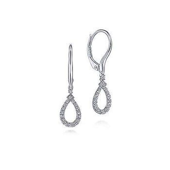 14K White Gold Pear Shaped Diamond Drop Earrings