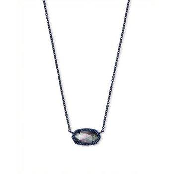 Elisa Navy Gunmetal Pendant Necklace In Indigo Illusion