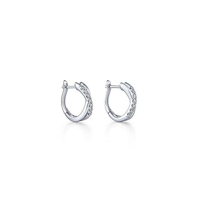 Gabriel Fashion 14K White Gold Twisted 15mm Diamond Huggie Earrings
