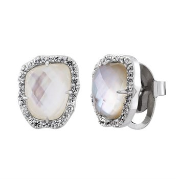 Mother of Pearl with White Sapphire Halo Earrings