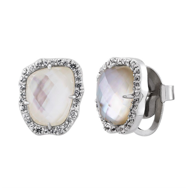 Lasker Pearl Fashion Mother of Pearl with White Sapphire Halo Earrings