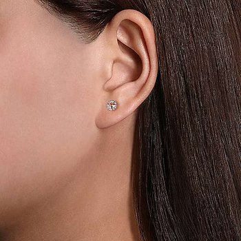 14K Rose Gold Round Morganite and Diamond Halo Stud Earrings