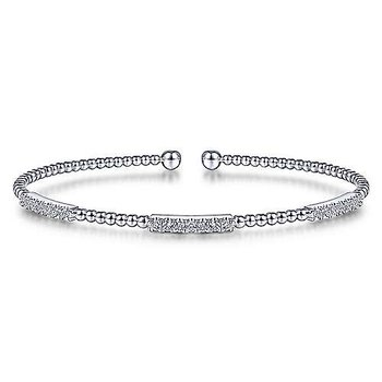14K White Gold Bujukan Bead Cuff Bracelet with Diamond Pavé Stations