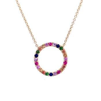 Multi-color Gemstone Circle Pendant