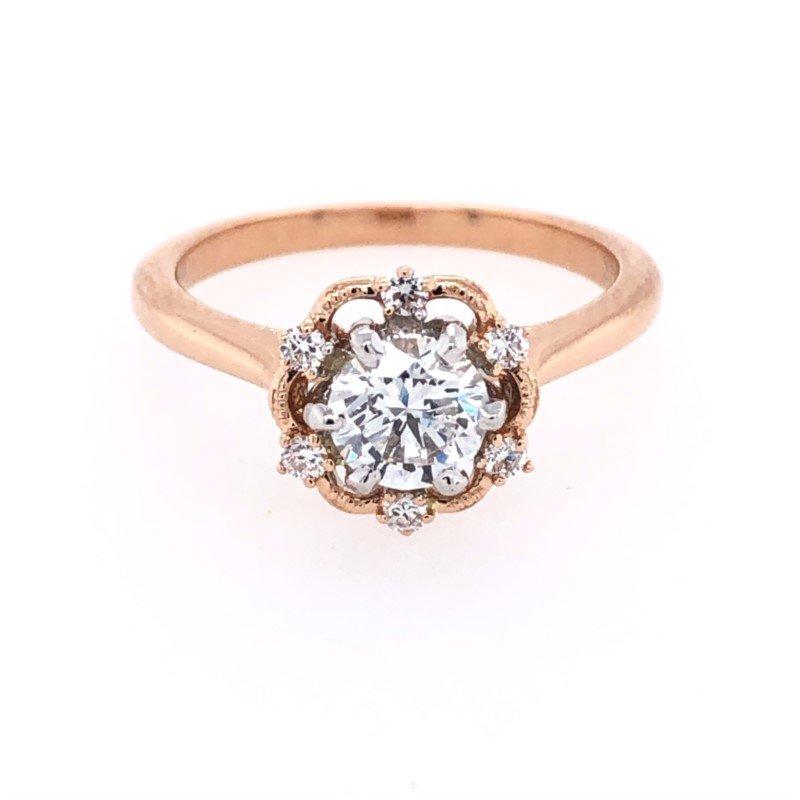 Lasker Bridal Picture Frame Halo Ring - .71ct Center Diamond