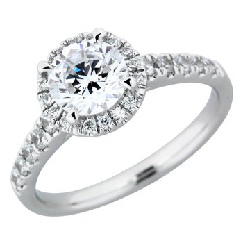 Classic Round Halo Ring - 1ct Center Diamond