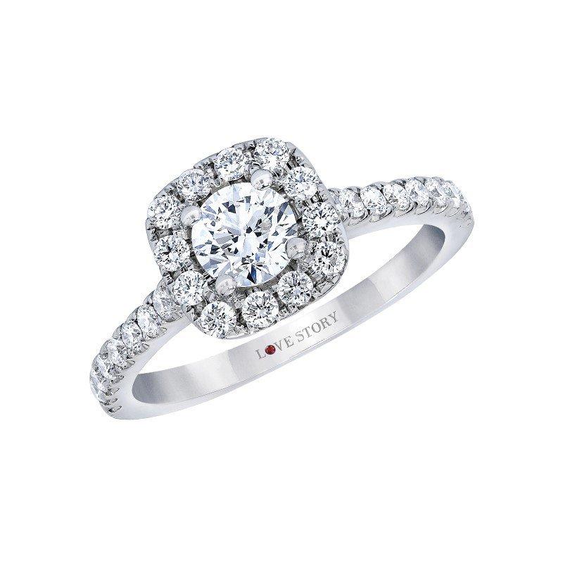 Lasker Bridal Selena Halo Ring - 3/4ct Center Diamond