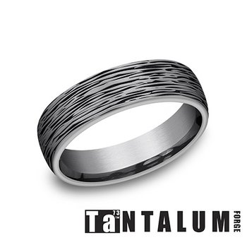 6.5mm Tantalum Ring - Bark Finish