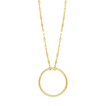 Yellow Gold Open Circle Pendant on Piatto Chain