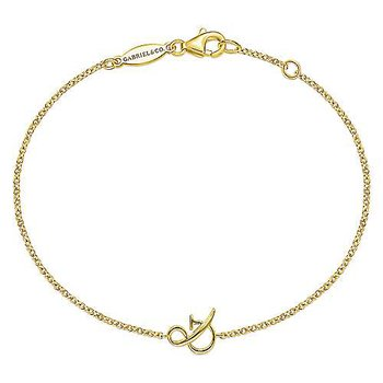 "14K Yellow Gold Chain Bracelet with ""&"" Symbol"