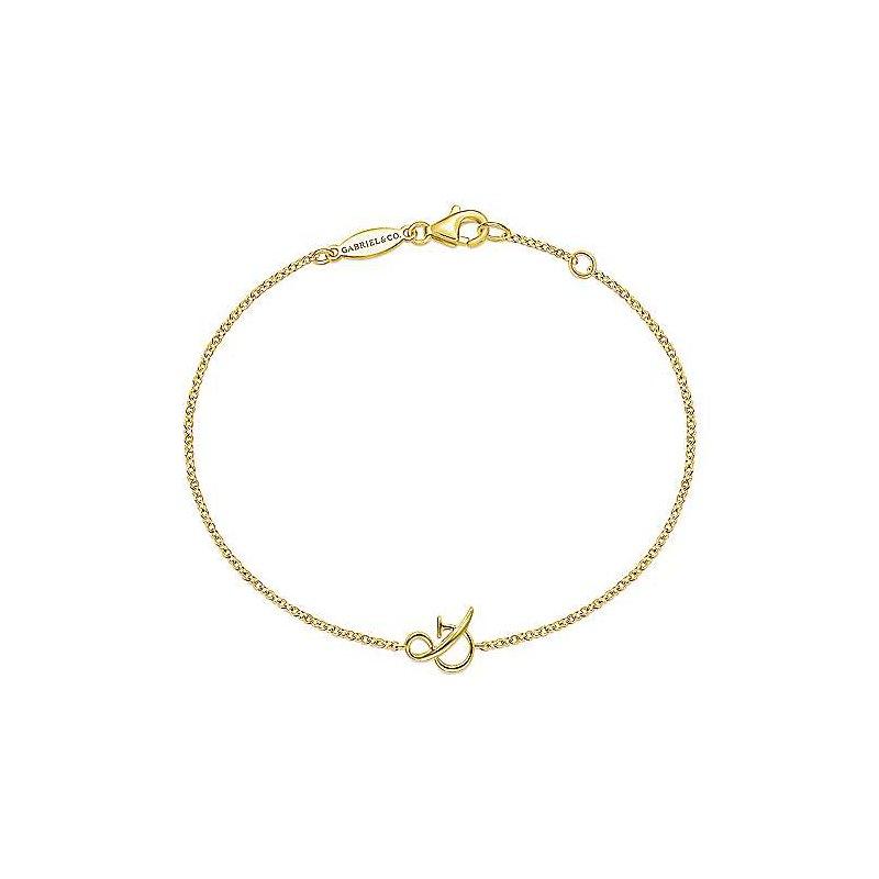"Gabriel Fashion 14K Yellow Gold Chain Bracelet with ""&"" Symbol"