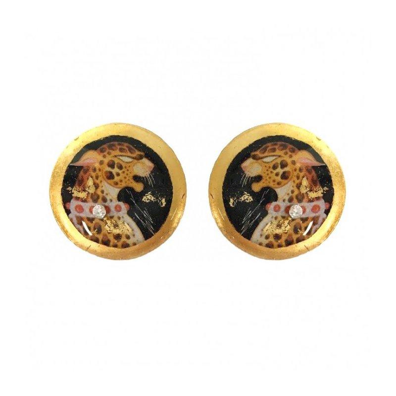 Evocateur Leopard Stud Earrings