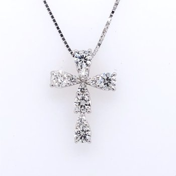 Raindrop Diamond Cross Pendant