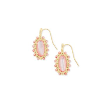 Beaded Lee Gold Drop Earrings In Rose Mother Of Pearl