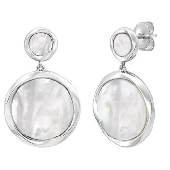 Mother Of Pearl Disc Dangle Earrings