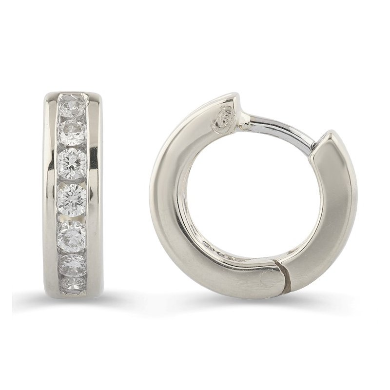 Lasker Diamond Fashion Channel Set Diamond Huggies