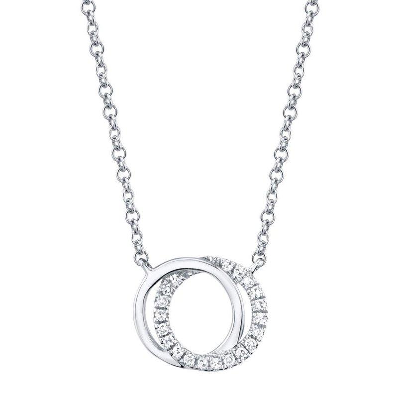 Lasker Gold Fashion 14K White Gold And Diamond Circle Necklace
