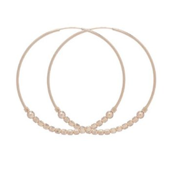 "Gold Filled 1.25"" Flirty Endless Hoop With 3mm Beads"