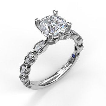 Engagement Ring Mounting with Miligrain Detail