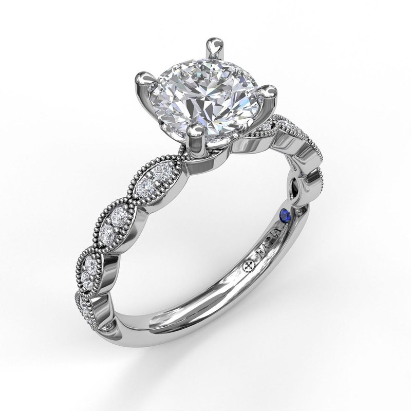Fana Engagement Ring Mounting with Miligrain Detail