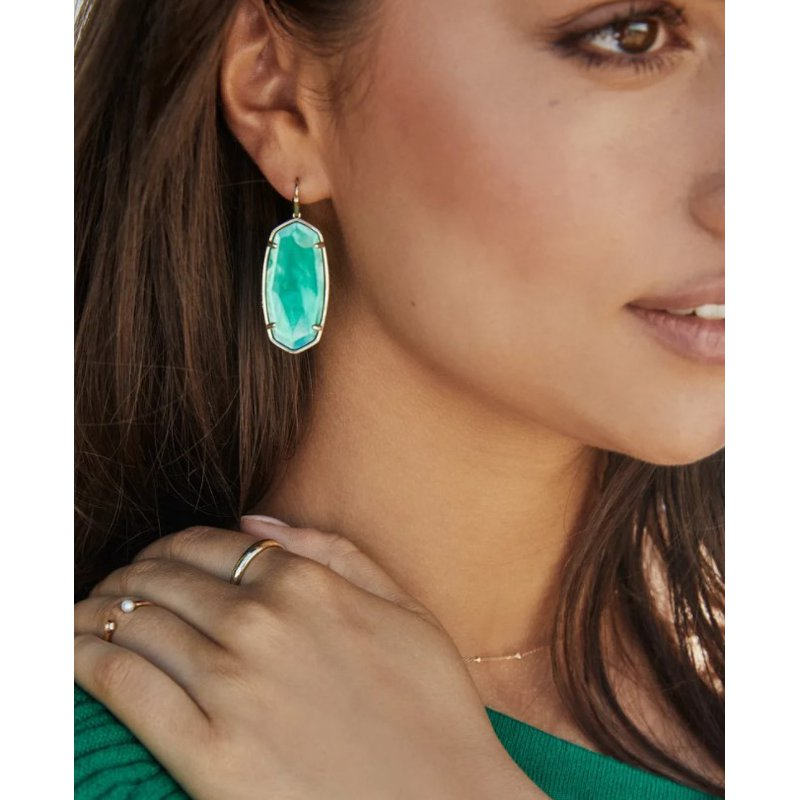 Kendra Scott Faceted Elle Earring in Yellow with Cobalt Howlite
