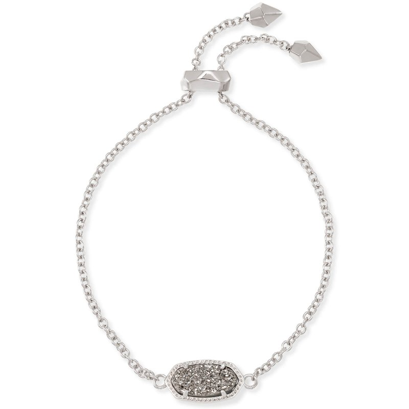 Kendra Scott Elaina Silver Adjustable Chain Bracelet In Platinum Drusy