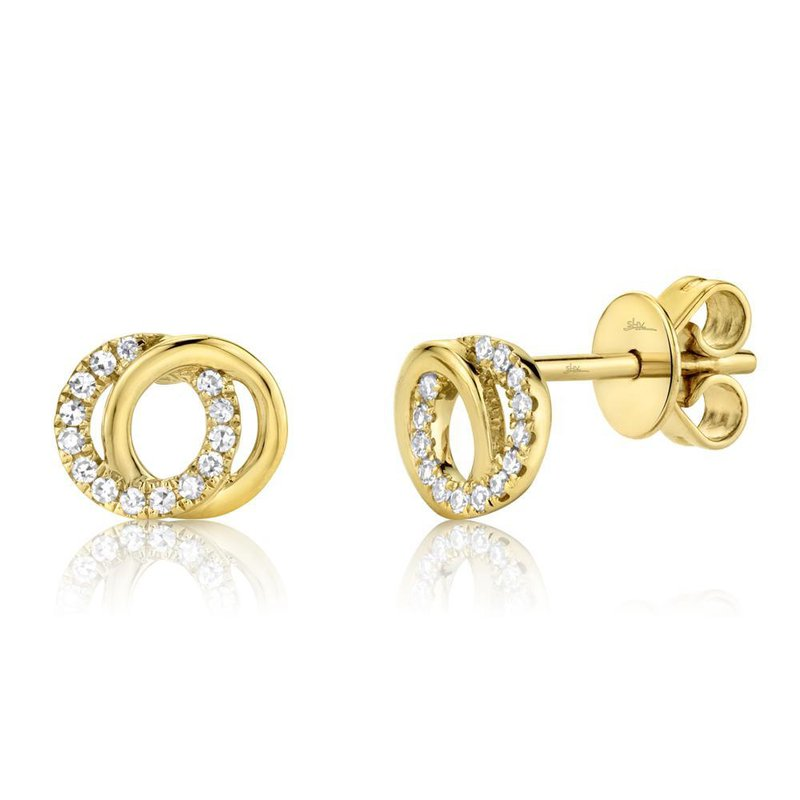 Lasker Gold Fashion You and Me Stud Earrings