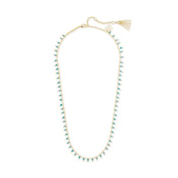 Jenna Gold Choker Necklace In Teal Amazonite