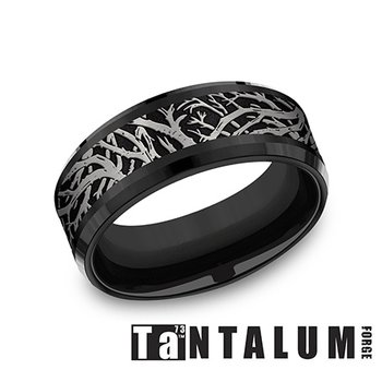 8mm Tantalum & Black Titanium Ring - Enchanted Forest
