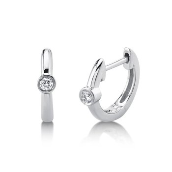 One and Only Bezel Set Diamond Huggie Earrings