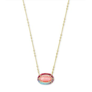 THREADED ELISA PENDANT NECKLACE GOLD CORAL ILLUSION