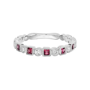 Pink Tourmaline & Diamond Band